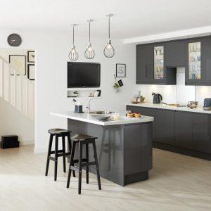 Graphite coloured kitchen installation