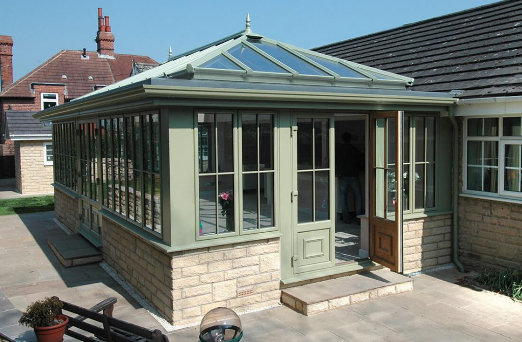 Green uPVC Orangery installation